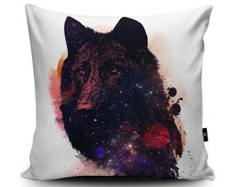 Wolf Space Cushion, Galaxy Wolf Pillow, Planets and Space Cushion, Space Bedding, Kids Cushion Wolf Pillow Case Space Wolf Art Robert Farkas