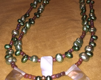 Pearl Necklace Multi Strand Double Strand Boho Chic Green Pearl Necklace