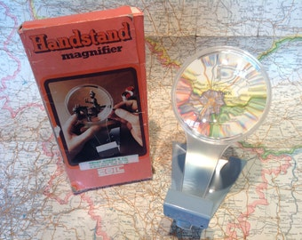 """1960s 4"""" Hands Free Magnifying Glass by Combined Opical Industries Ltd. Optical Instruments. Magnifier. Reading Glass."""