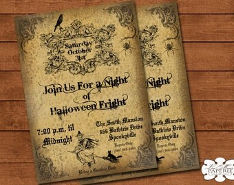 halloween invitation, handmade digital invite, halloween party vintage invitation, halloween party invite - Digital File - DIY PRINTABLE