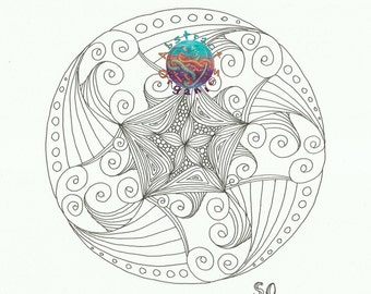 Mandala March adult colouring page, colour in page, flower and swirls PDF download, floral colour in sheet, art therapy, relaxing art