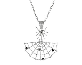 14k solid white gold spider web pendant with Black diamonds. web pendant, spider pendant.