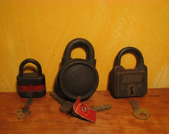 Collection of 3 Old Padlocks