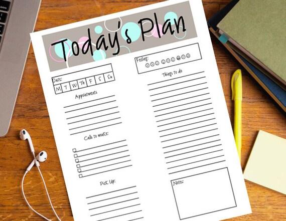 printable todays plan printable daily planner day planner