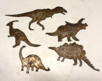 "Set Lot of 5 DINOSAURS 3"" - 6"" T-Rex Stegosaurus Brontosaurus Rusty Vintage Antique-y Metal Steel Wall Art Craft Ornament Stencil"