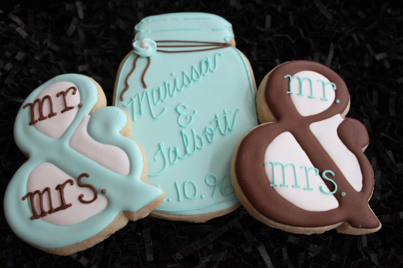 Mr Mrs Wedding Cookies Mason Jar Cookie Favors Bridal