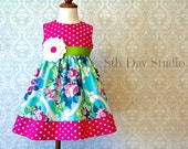 Girls Easter Dress, Toddler Easter Dress, Turquoise Pink and Lime Floral, Special Occasion, Church, Sunday, Sizes 2T - 8 by 8th Day Studio