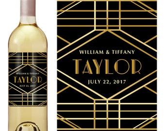 Wedding Wine Label - Personalized Wine Label - Custom Wine Label - Art Deco Wine Label - Wedding Wine Bottle Label