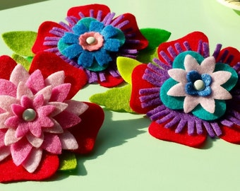 Custom Felt Flower Accessories - Headband, Barrette, Brooch, Clips