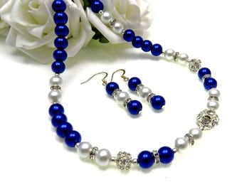 4 Sets of Navy and White Bridal Pearl Necklace, White and Navy Pearl Necklace, Navy Wedding Jewelry, Pearl Jewellery, Pearl Jewelry,