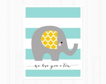 Elephant Print for Nursery Art - Elephant Art Print Quote - We Love You A Ton Nursery Typography in Stripes