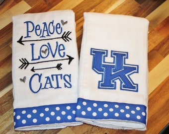 Peace, Love, Cats Burp Cloth Set