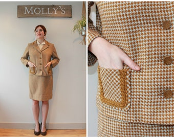 SALE - 1960s Tan and Cream Houndstooth Wool Skirt Suit