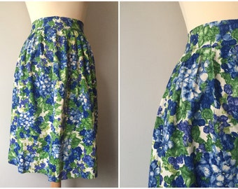 SALE - Vintage Blue and Green Floral Half Apron