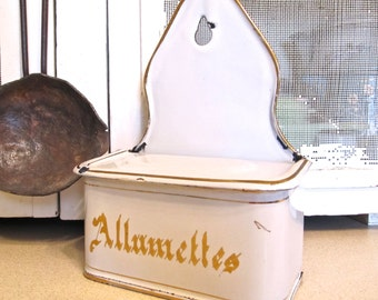 French Enamelware White & Gold Allumettes Match Holder Box