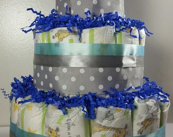 3 Tier Diaper Cake - Blue and Silver Polka Dot - Baby Shower Centerpiece - Total of 50 Diapers