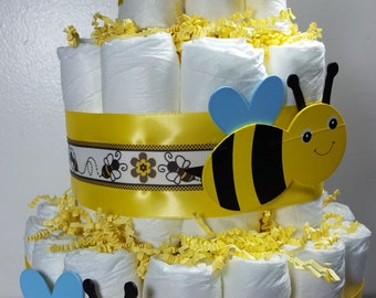3 Tier Diaper Cake Bumble Bee Theme Neutral Baby Shower Centerpiece