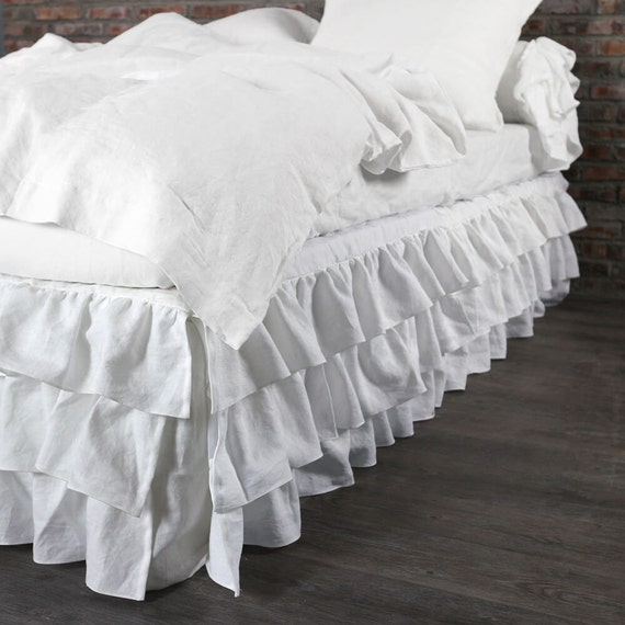 king size ruffled linen white bed skirt 76 39 39 x80 39 39 by thenewhome1. Black Bedroom Furniture Sets. Home Design Ideas