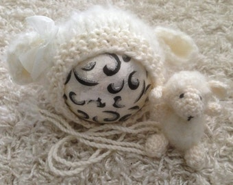 Newborn knit lamb sheep bonnet buddy set in mohair blend, photo prop, gift idea, coming home, knit, crochet,ready to ship