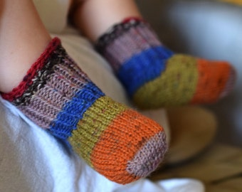 Thin wool socks, colorful baby socks, blue  orange striped, thin wool baby booties, size 2-6 month