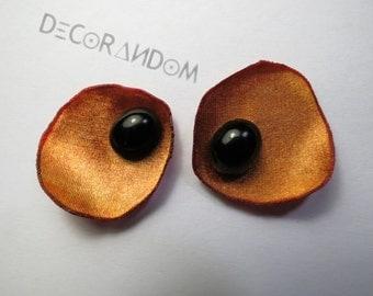 floral earrings, orange-black, Black Pearl, with recycled fabric, petal by lobo orange light, op5