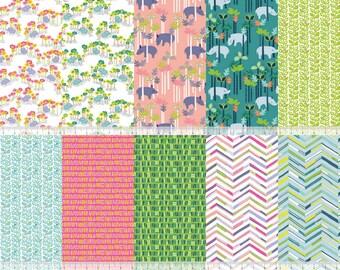 Half yards  (10) SUNDALAND JUNGLE  by Katy Tanis for Blend Fabrics