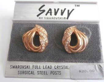 Savvy by Swarovski Post Earrings Gold-tone with Swarovski Crystals