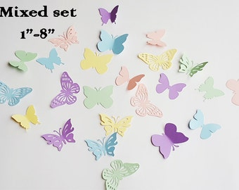 50  paper butterflies/ Mixed size and style set /pastel colors butterfly die cuts