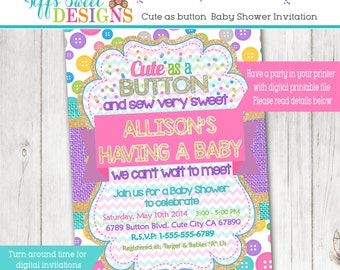 Cute As A Button Baby Shower - Invitation - Baby Shower - Birthday