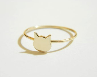 14K Gold Cat Ring
