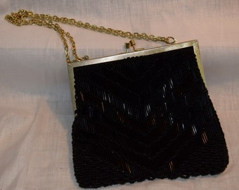 1950s 1960s vintage Walborg Women's black beaded clasp evening purse