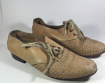 50s Vintage Leather Woven Oxford Lace Up Shoes