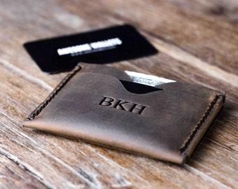 Minimalist Leather Wallet, Groomsman Gift, Groomsmen Gift Wallet, Best Man Gift #061