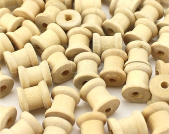 "100 Pk - 1/2"" x 1/2"" Unfinished Wood Spools - Empty Storage Roll - Thread Cord Chain Roll String Wire Bobbin Decor - 0.5 Inch Wooden Spools"