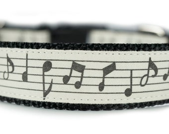 Music Notes Engraved Metal Buckle Dog Collar