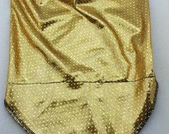 Gold Spandex Bandana w/ Holographic Gold Rainbow Polka Dots and Hidden Stash Pocket