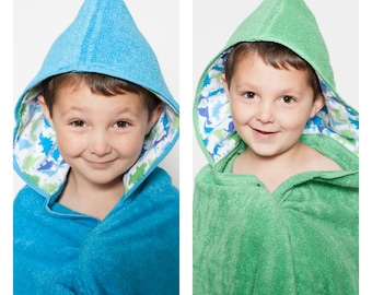 Boy hooded towel with dinosaurs your choice of towel color,personalized beach towel,dinosaur bath towel,hooded towel wrap, baby hooded towel