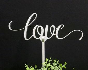 LOVE Wedding cake topper, Silver wedding cake topper, Gold wedding cake topper, Silver glitter