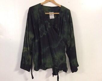 Dip dyed kimono wrap