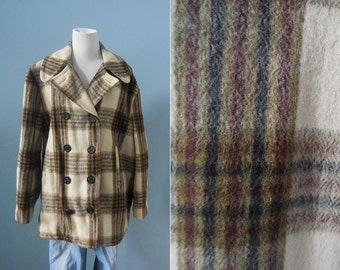 Vintage men's WOOL coat plaid  PEA COAT double breasted wool coat winter coat mens 42 large