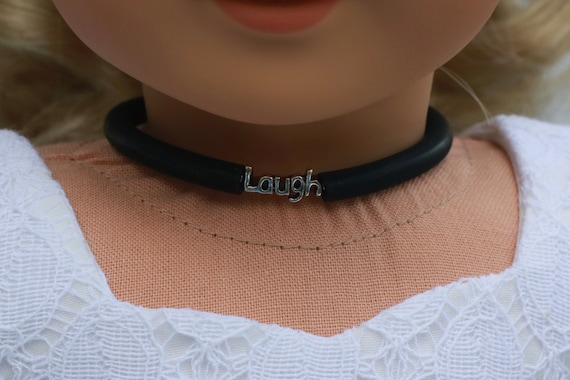 Doll Accessories | LAUGH Charm CHOKER NECKLACE in Black or Frosted White for dolls such as American Girl Doll