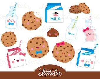 Milk and cookies clipart - kawaii food clipart - 16033