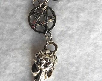 Funeral Messenger Crow & Pentacle Necklace - Raven, Nevermore, Poe, Pentagram, Purple