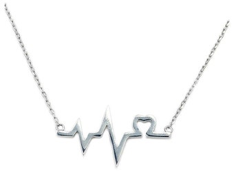 Solid .925 Sterling Silver Lifeline, Heart Necklace AD42