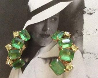 Vintage 1950s Earrings Green Stones & Clear Rhinestones Gold Tone Metal Clip On