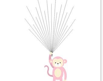 Fingerprint Baby Shower Alternative Guest Book Monkey Guest Book Monkey Baby Shower Balloons Thumbprint Guest Book Choose Your Colors Canvas