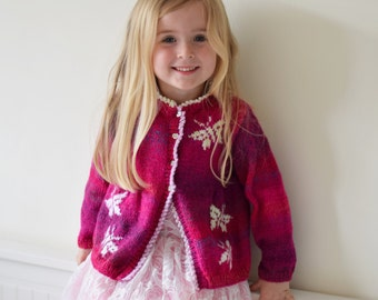 Child's Jacket Knitting Pattern with Butterflies,  Cardigan with Butterflies Knitting Pattern, Butterfly design, Girls knitting pattern