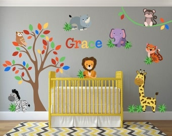 Jungle Nursery Decor, Jungle Animal Wall Decals, Safari Nursery Wall Decals, Jungle Wall Art, Safari Wall Art