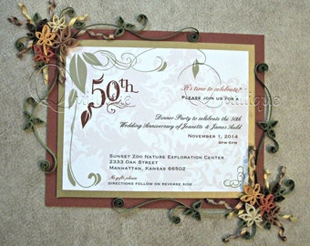 """50th Wedding Anniversary Gift for Couple / Quilled & Framed Invite / Paper Quilling / Quilled Art / Anniversary Gift- """"50 YEARS"""""""
