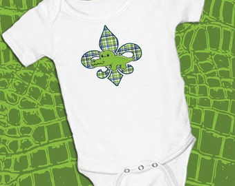Alligator on Fleur de lis, Boy Plaid Blue and Green, Girl Pink Chevron,on White onsie Snap bottom all in one bodysuit